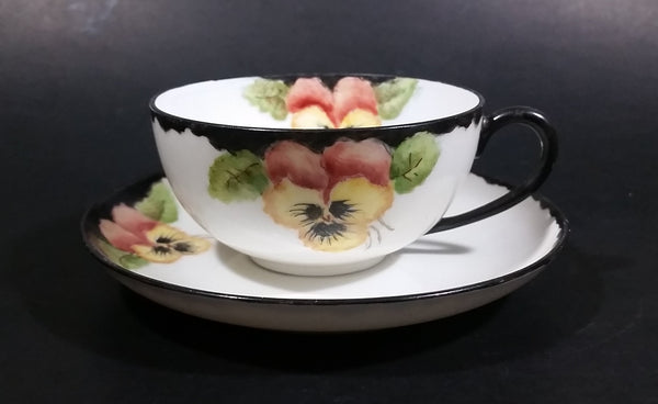 Antique Unmarked Black Trim Yellow Pansy Tea Cup & Saucer - Treasure Valley Antiques & Collectibles