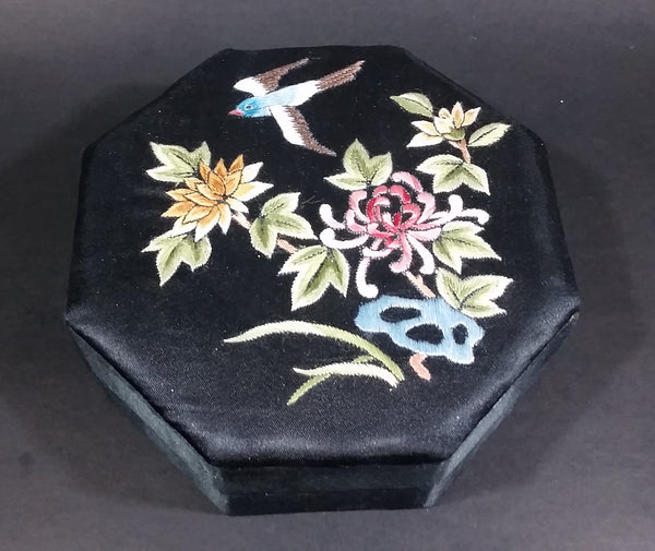 1940s Chinese Silk Embroidered Octagon Jewelry Keepsake Bird and Flower Decor