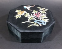 1940s Chinese Silk Embroidered Octagon Jewelry Keepsake Bird and Flower Decor - Treasure Valley Antiques & Collectibles