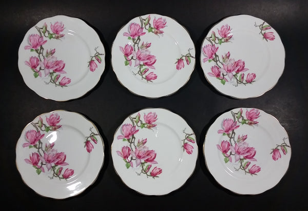 "Set of 6 Roslyn Bone China ""Harmony Rose"" Salad Plates - Signed - Treasure Valley Antiques & Collectibles"