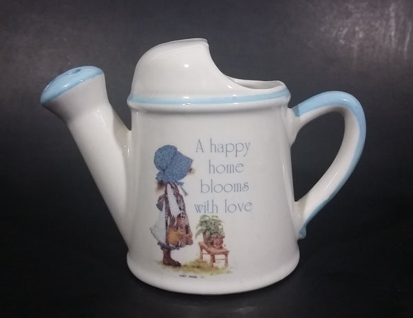 Vintage Holly Hobbie Blue Girl White Ceramic Flower Watering Can Collectible - Treasure Valley Antiques & Collectibles