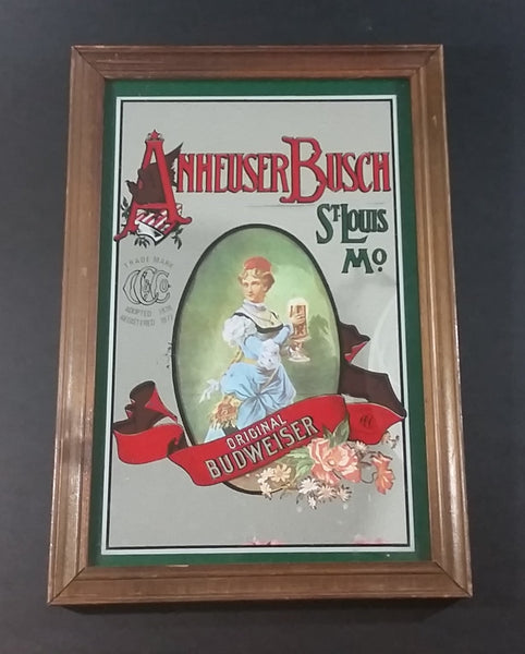 "Vintage Anheuser Busch Original Budweiser 13"" x 9"" Wood Framed Advertising Mirror - Pub, Lounge, Man Cave Collectible"