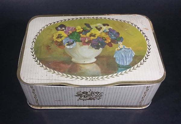 Vintage Gray and Dunn 'Pansies' Biscuits Cookie Tin w/ Floral Arrangement and Girl in Dress - Treasure Valley Antiques & Collectibles