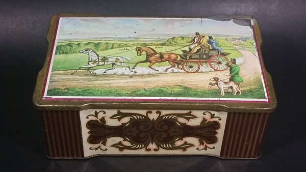 Rare Vintage Murchie's Select Tea Horse Drawn Carriage Scenery Decorated Hinged Tin