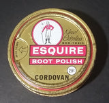 Vintage Knomark Esquire Boot Polish Cordovan 29¢ Round Golden Colored Tin - Treasure Valley Antiques & Collectibles
