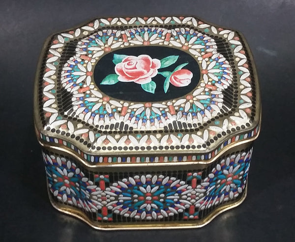 Collectible Beautifully Decorated Pink Rose Flower Storage Container Tin - Treasure Valley Antiques & Collectibles