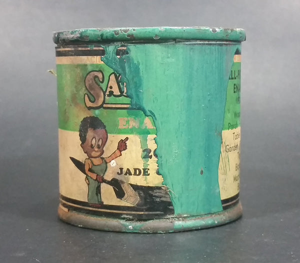 Rare 1930s Bapco British America Paint Co Ltd Satin-Glo Jade Colored Enamel Paint Small Can - Treasure Valley Antiques & Collectibles