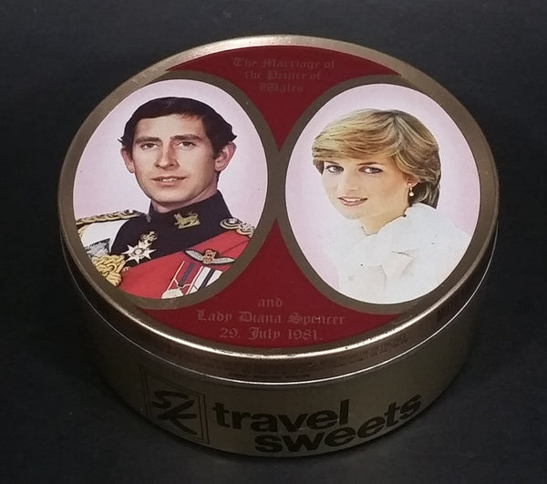 Vintage 1981 SK Travel Sweets The Marriage of the Prince of Wales and Lady Diana Spencer Collectible Tin - Treasure Valley Antiques & Collectibles