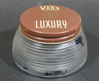 Vintage Glass Jar Vans LUXURY Blue Wax Shoe Polish - Still has wax inside - Treasure Valley Antiques & Collectibles