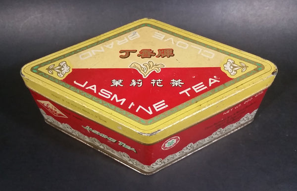 Vintage Clove Brand Jasmine Tea Tin China National Tea & Native Produce Import & Export Corp. Fukien Tea Branch - Treasure Valley Antiques & Collectibles