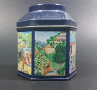 1984 Earl Grey Tea Crabtree & Evelyn London Hexagon Shaped Blue Tea Tin Collectible - Treasure Valley Antiques & Collectibles