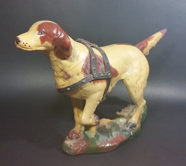 Antique 1940s Large Chalkware Hunting Hound Dog with Leather Harness - Signed - Treasure Valley Antiques & Collectibles