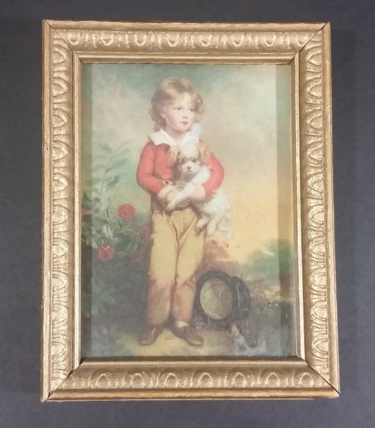 "Vintage C. Bremont Painting 'French Boy with Dog' Small 3"" x ""4 Framed Print - Treasure Valley Antiques & Collectibles"
