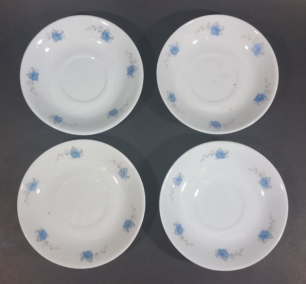 Set of 4 White with Blue Floral Flower Decor Tea Cup Saucers - Made in China - Treasure Valley Antiques & Collectibles