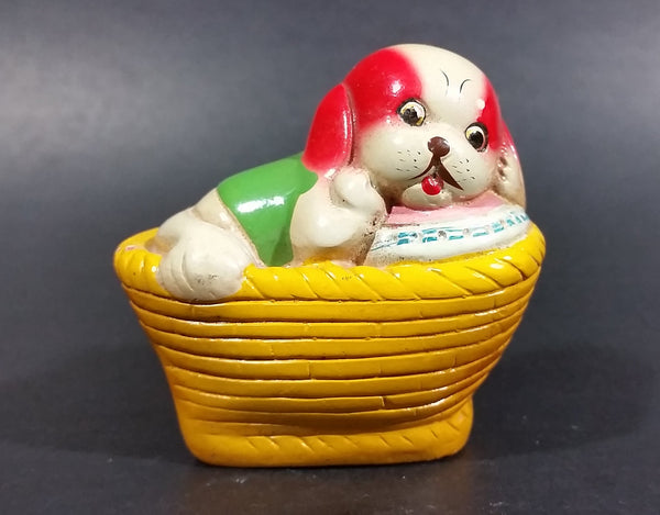 Vintage White Puppy Dog w/ Red Ears In a Yellow Basket Ceramic Pencil Sharpener - Treasure Valley Antiques & Collectibles