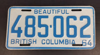 1964 Beautiful British Columbia White with Light Blue Letters Vehicle License Plate 485 062