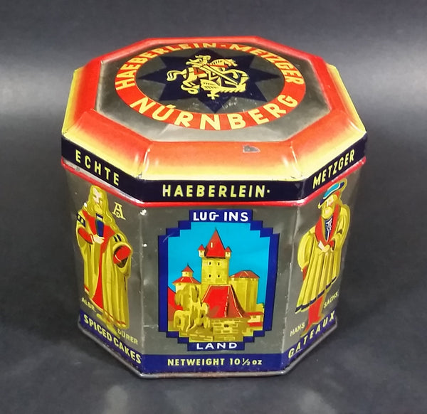 "Vintage Haeberlein Metzger Nunnberg 5 Fine ""Elisen"" Spiced Cakes Empty Sweets Tin - Made in Germany - Treasure Valley Antiques & Collectibles"