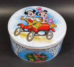 Rare Vintage Disney Mickey Mouse & Minnie Mouse in a Red Classic Car Round Tin Container