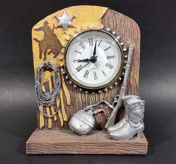 Western Rodeo Cowboy Quartz Clock w/ Leather Overlay, A Star, Boots, Canteen, Gun, and Ropes - Treasure Valley Antiques & Collectibles