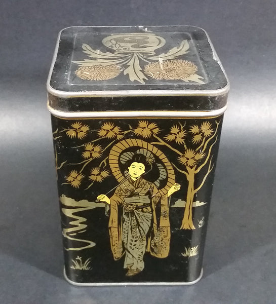 Vintage Lipton's Tea The Most Delicious The World Produces Asian Ladies Black & Gold Tin - Treasure Valley Antiques & Collectibles