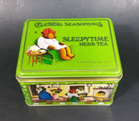 1982 Celestial Seasonings Sleepytime Herb Tea Empty Green Tin Container - Treasure Valley Antiques & Collectibles