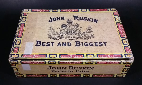 Vintage John Ruskin Best And Biggest I. Lewis Cigar Mfg. Co 6 cent 6¢ 50 Cigars Box - Factory C-248 Alabama - Treasure Valley Antiques & Collectibles