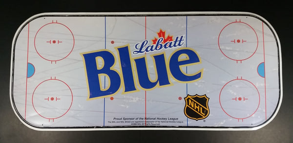 1998 Labatt Blue Beer NHL Ice Hockey Rink Shaped Large Tin Sign - Collectible Man Cave, Games Room, She Shed Decor - Treasure Valley Antiques & Collectibles