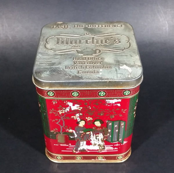 "Collectible 1978 Murchie's ""Taste The Difference"" Red, Gold Tea Tin Container - Vancouver, B.C. - Treasure Valley Antiques & Collectibles"