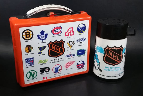 Vintage Rare 1974 Aladdin Canadian NHL Ice Hockey Orange and Black Lunch Box Thermos Set - Treasure Valley Antiques & Collectibles