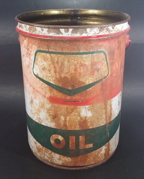 Vintage Co-op Oil 5 Imperial Gallon Large White Green Red Metal Pail with Wood Handle - Treasure Valley Antiques & Collectibles