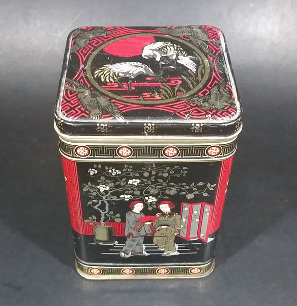 Vintage Bristow's Assorted Toffee Oriental Asian Black, Red, Gold Themed Tin Container - Treasure Valley Antiques & Collectibles