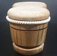 Vintage Wooden Cuban Drums with Hide Small Miniature Wood Burned Decorative Travel Souvenir Collectible - Treasure Valley Antiques & Collectibles