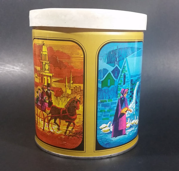 Vintage Round Colorful Sweets Tin with Old Winter Scenes Inside and Out w/ Lid Patented 1960 - Treasure Valley Antiques & Collectibles