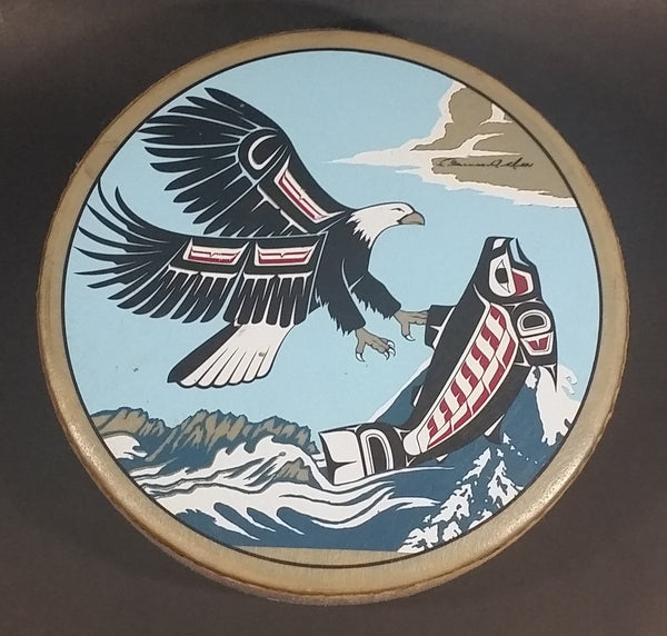 Rare Version Clarence A. Wells Port Simpson, B.C. Aboriginal Art Eagle Catching Jumping Salmon Deer Hide Rimmed Drum Print - Treasure Valley Antiques & Collectibles