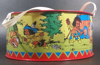 Vintage 1984 LBZ German Made Yakari Comic Book Series Red Tin Drum Toy - Treasure Valley Antiques & Collectibles