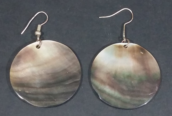 Vintage Mother of Pearl Round Disc Earrings - Treasure Valley Antiques & Collectibles