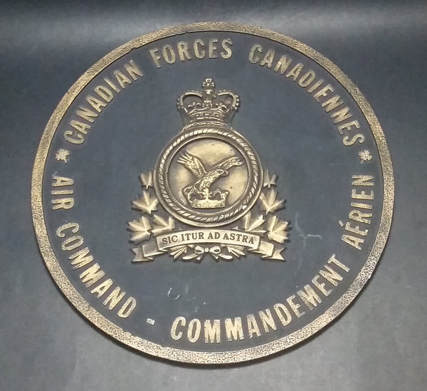 Vintage Canadian Forces Canadiennes Air Command Commandement Aérien Round Chalkware Military Plaque - Treasure Valley Antiques & Collectibles