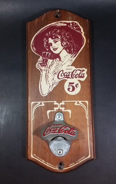 Vintage Coca-Cola Coke 5 ¢ Metal & Wooden Wall Mount Pop Bottle Opener - North Columbia Trading Company Enderby, B.C. - Treasure Valley Antiques & Collectibles
