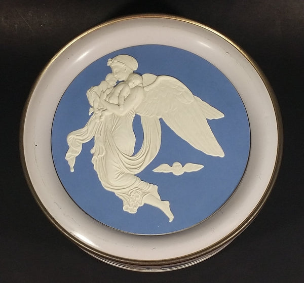 Vintage Round Light Blue and White Cameo Embossed Angels and Babies Tin Storage Container - Treasure Valley Antiques & Collectibles