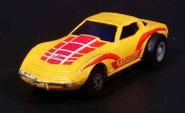 Rare Vintage Yatming Chevrolet Corvette Turbo Yellow Die Cast Toy Pullback Friction Car Vehicle - Treasure Valley Antiques & Collectibles