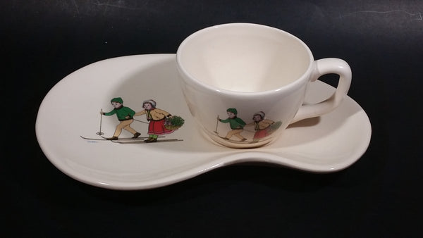 Vintage Niderviller Skiing Chalet Boy and Girl on Skis Ceramic Pottery Mug Tea and Toast Cup & Saucer Set - Treasure Valley Antiques & Collectibles
