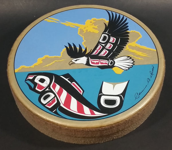 Rare Version Clarence A. Wells Port Simpson, B.C. Aboriginal Art Eagle Flying Over Salmon Deer Hide Rimmed Drum Print - Treasure Valley Antiques & Collectibles