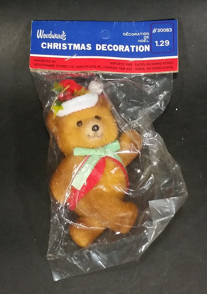 Vintage Woodward's Christmas Decoration Soft Plush Teddy Bear w/ Santa Hat, Green Bow, and Red Vest - Treasure Valley Antiques & Collectibles