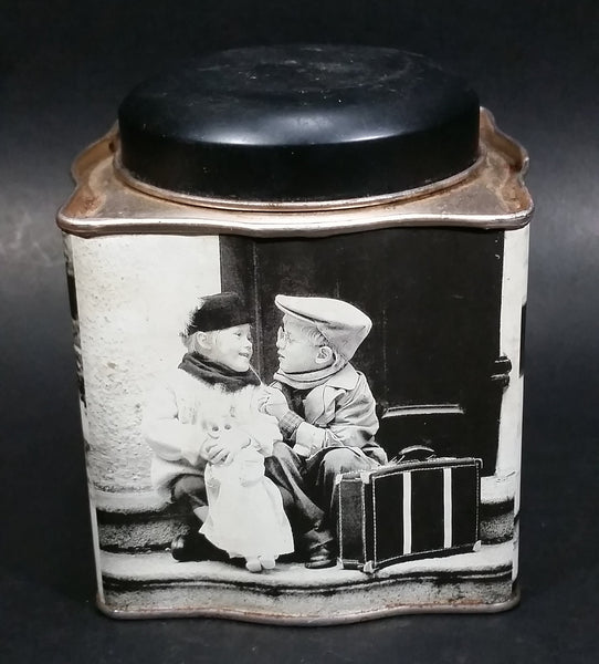 Black and White Photograph Cocoa Storage Tin of a Boy and a Girl Sitting in Different Scenes
