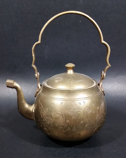 Beautifully Engraved Vintage Solid Brass Teapot Made in India