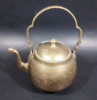 Beautifully Engraved Vintage Solid Brass Teapot Made in India - Treasure Valley Antiques & Collectibles