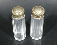 Vintage Glass Small Thin Silver Lidded Salt And Pepper Shakers - Treasure Valley Antiques & Collectibles