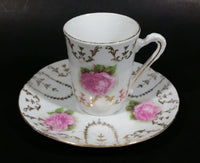Vintage Unknown Maker Pink Floral with Gold Motif Tea Cup and Saucer Set - Treasure Valley Antiques & Collectibles