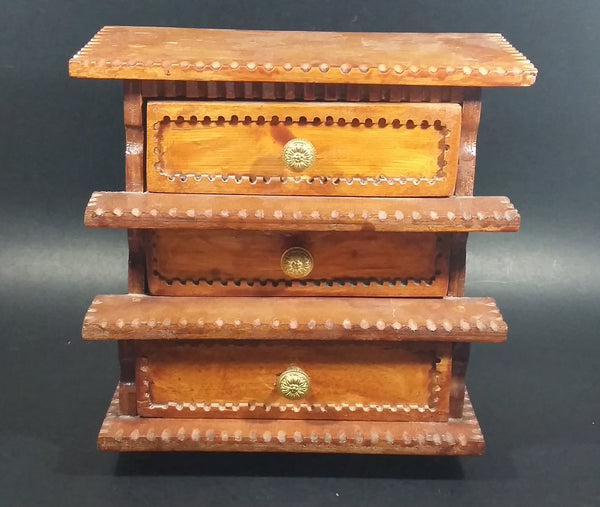 Vintage 3 Drawer Tiered Carved Notch Wooden w/ Green Felt Lining Footed Jewelry Trinket Box - Treasure Valley Antiques & Collectibles