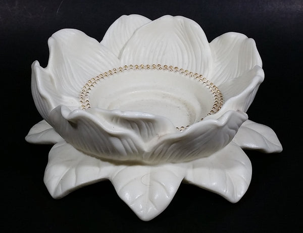Retired Partylite Porcelain Bisque Magnolia Lotus Flower Blossom Candle Holder - Treasure Valley Antiques & Collectibles